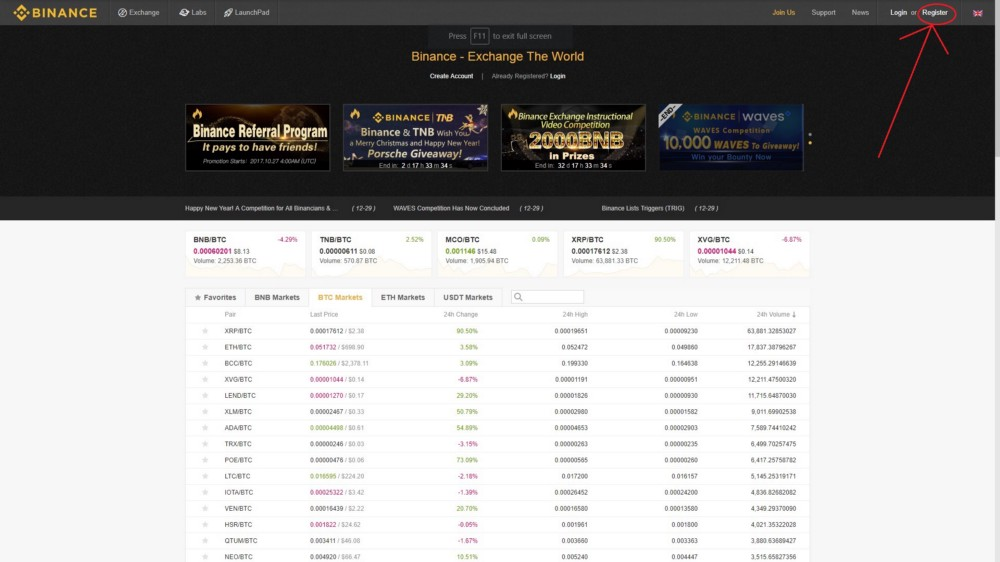 How to Trade Bitcoin on Binance - Registering