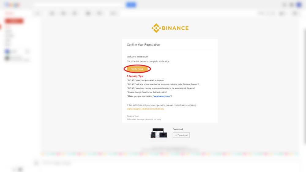 How to Trade Bitcoin on Binance - Confirmation Email